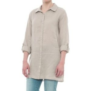 3/$30 Tahari Linen Button Down Tunic Sz M